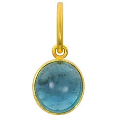 Gold Indicolite Tourmaline Charm Pendant One of a Kind