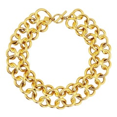 Gold Interlocking Circles Link Chain Oversized Choker Necklace By Anne Klein