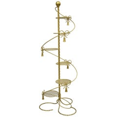 Gold Italian Hollywood Regency Iron Spiral Staircase Tall Plant Stand Planter