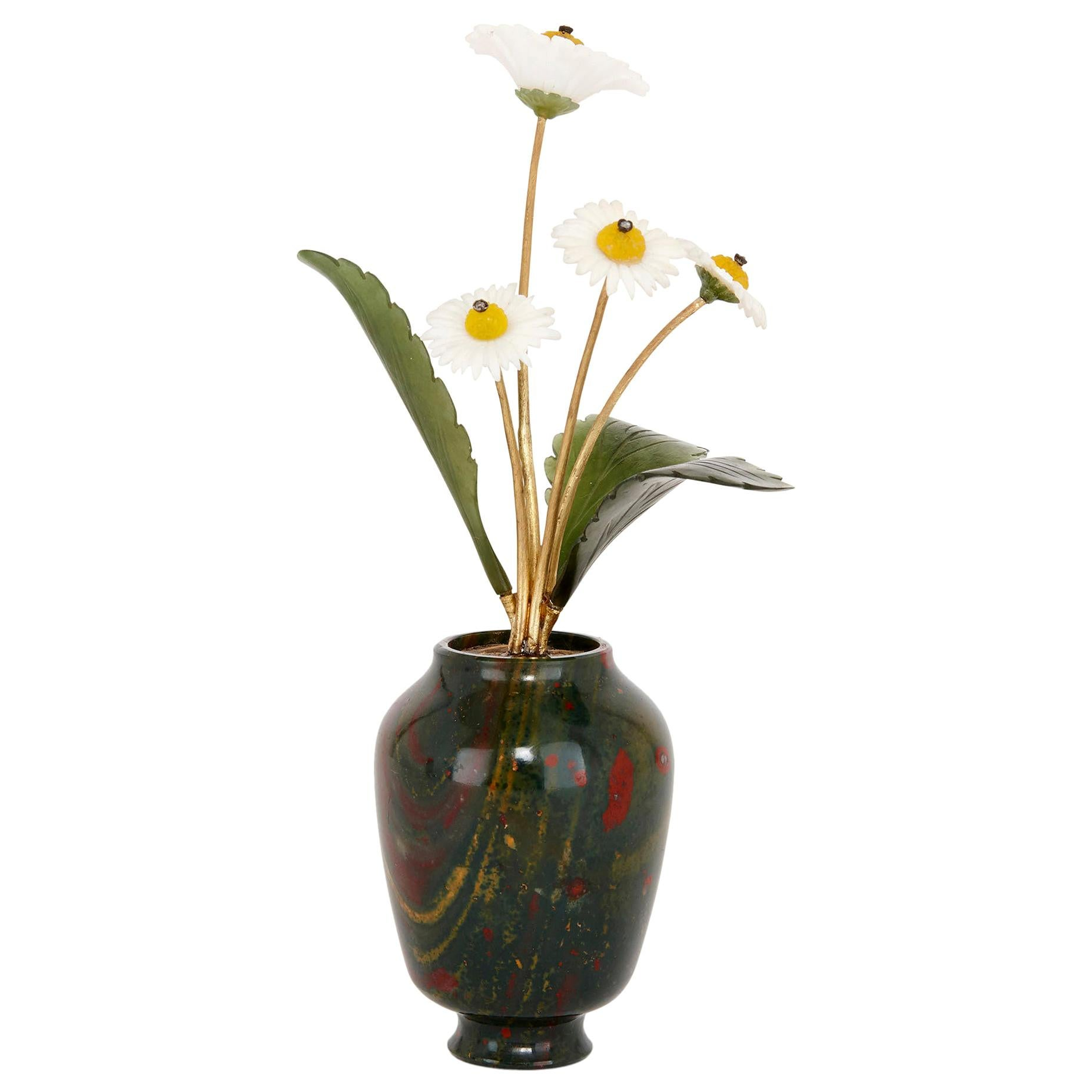 Gold, Jade, and Bloodstone Flower Model in the Style of Fabergé