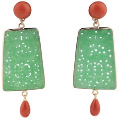 Gold Jade and Coral Earrings