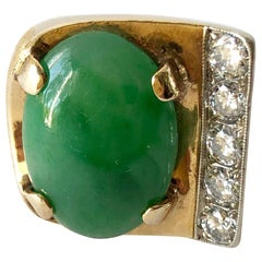 Gold Jade and Diamond Large Scale Gentleman's Pinky Ring