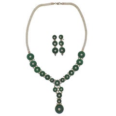 Gold Jade Diamond Necklace Earrings Set