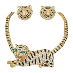 Gold Jaguar Necklace and Earrings Set with Rhinestones