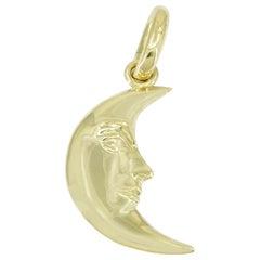 Gold Kieselstein Man in the Moon Pendant