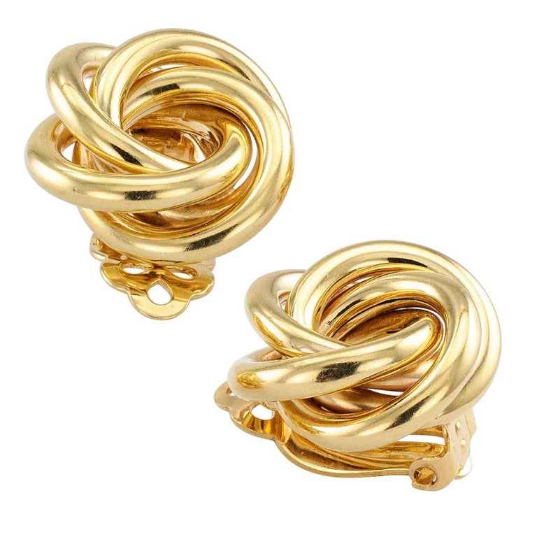 Contemporary Gold Knot Clip on Earrings For Sale