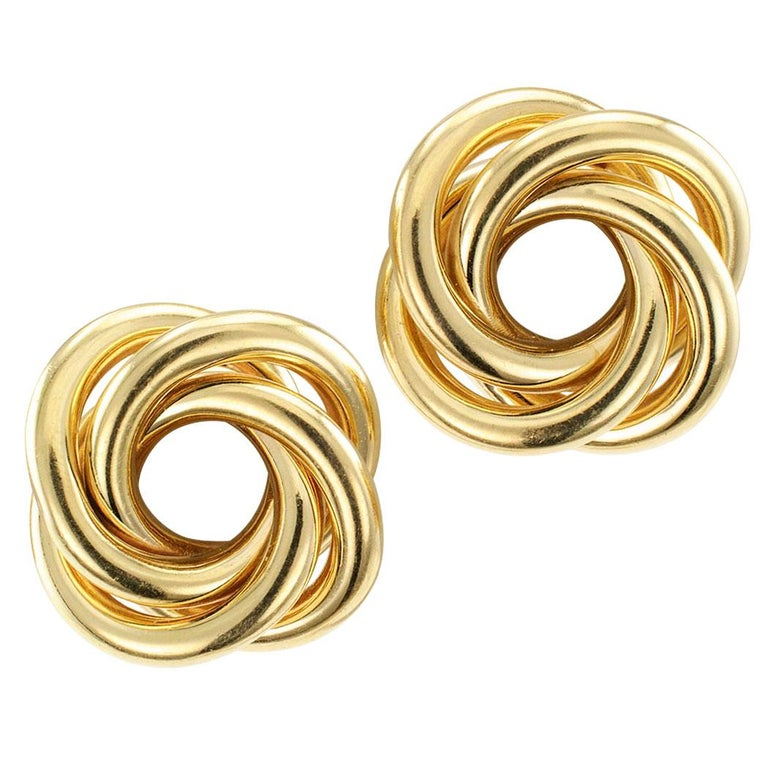 Gold Knot Clip on Earrings For Sale
