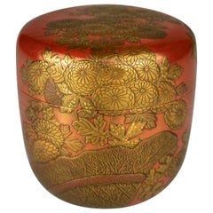 Gold Lacquer Natsume with Chrysanthemum on a Fence by Okada Hyokan I '1904-1969'