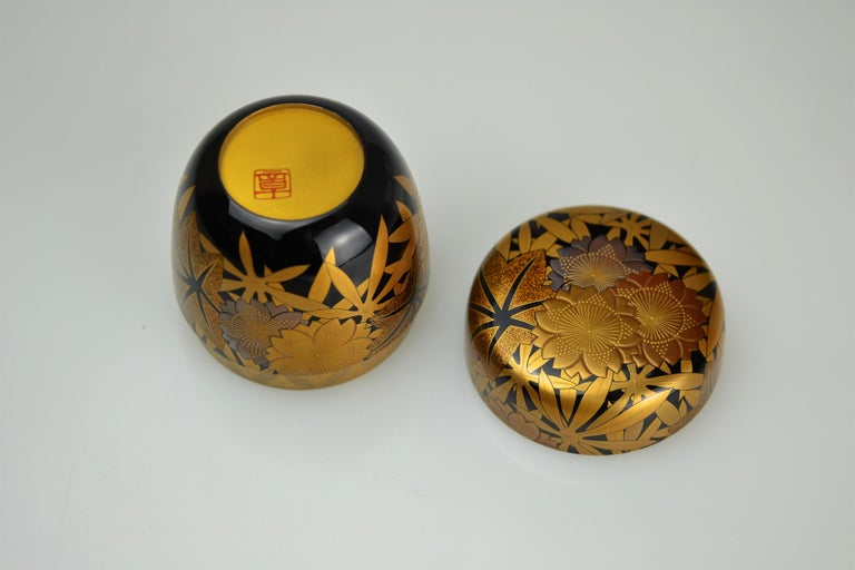 Gold Lacquer Tea Caddy (natsume) by Kakinoki Akira (1926-2009) In Excellent Condition For Sale In Berlin, Berlin