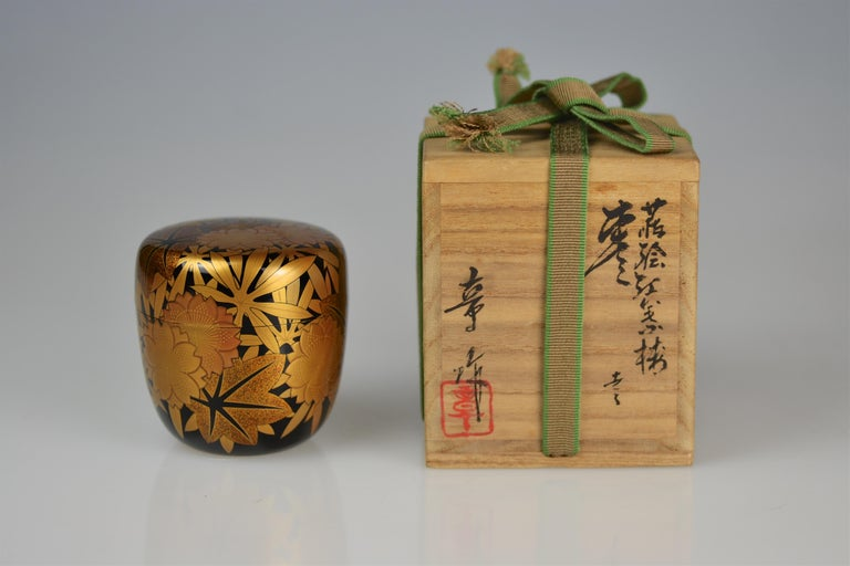Gold Lacquer Tea Caddy (natsume) by Kakinoki Akira (1926-2009) For Sale 1