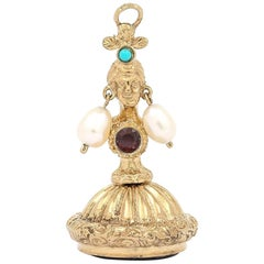 Gold Ladies Head Amethyst, Pearl, Turquoise and Garnet Set Fob Seal