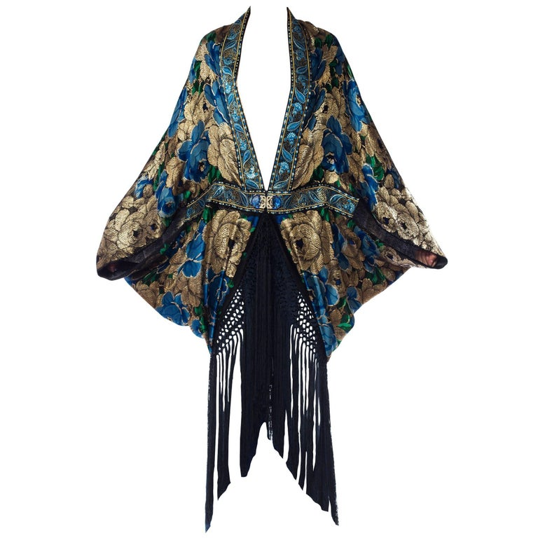 Gold Lamé Cocoon with Fringe and Crystals, 1920s  For Sale