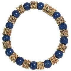 Gold Lapis Bead Bracelet
