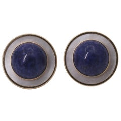 Gold Lapis Lazuli and Mother of Pearl Earrings