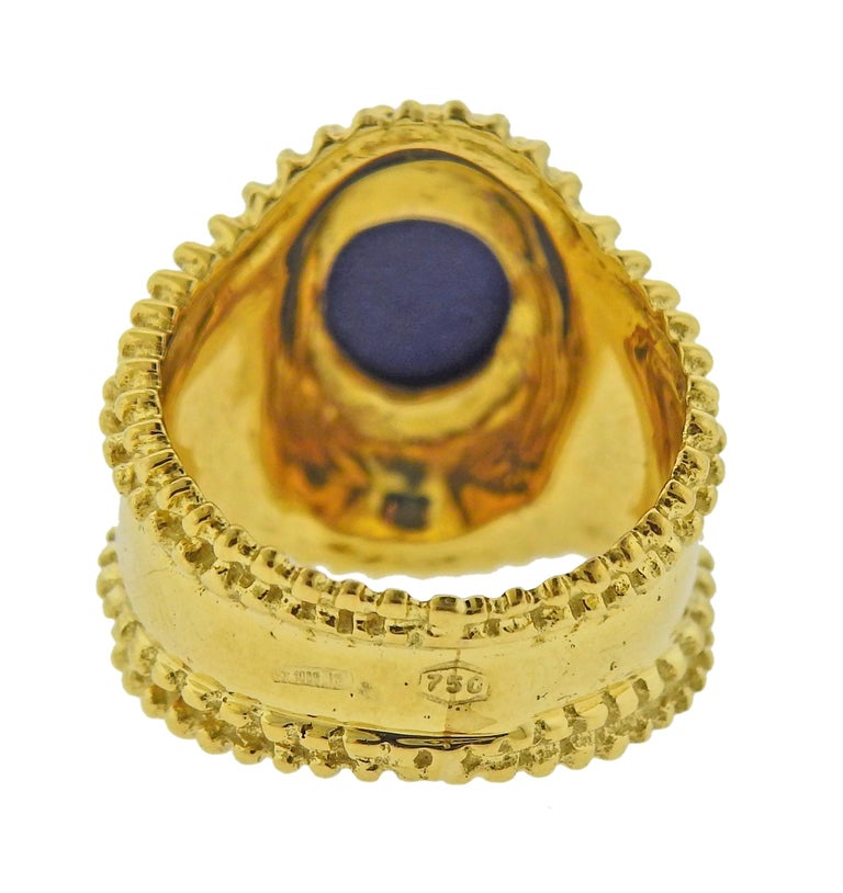 Round Cut Gold Lapis Lazuli Ring For Sale