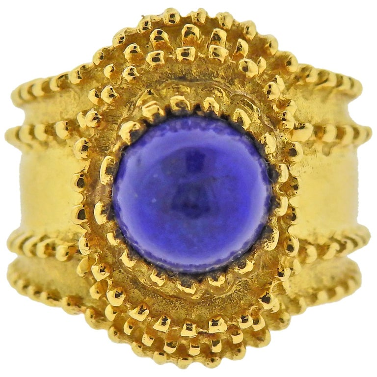Gold Lapis Lazuli Ring For Sale