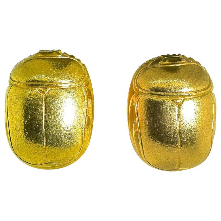 Gold Large Scarab Motif 18 Karat Earrings, Boregaard, circa 1980 For Sale