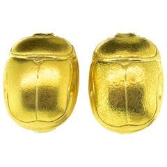 Gold Large Scarab Motif 18 Karat Earrings, Boregaard, circa 1980