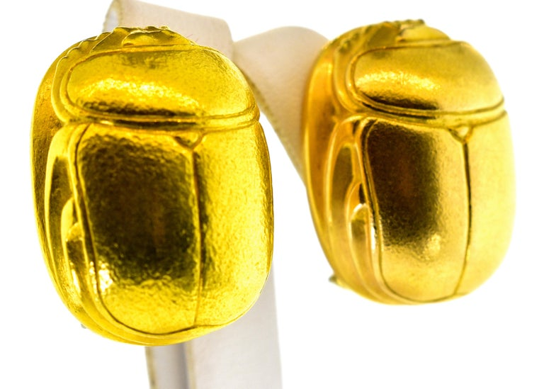 Contemporary Gold Large Scarab Motif 18 Karat Earrings, Boregaard, circa 1980 For Sale