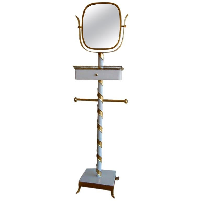 Gold Leaf and Lacquered Swivel Mirror Stand Italian Mid-Century Modern For Sale