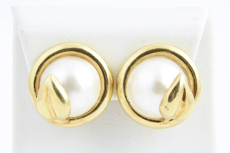 Gold Leaf and Mabe Blister Pearl Button Earrings For Sale 1