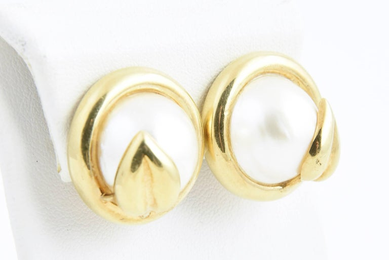Gold Leaf and Mabe Blister Pearl Button Earrings For Sale 2