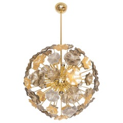Gold Leaf and Smoked Murano Glass Flower Pendant