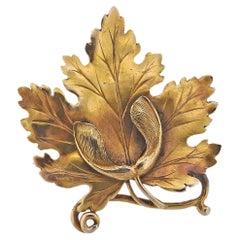 Gold Leaf Brooch Pin