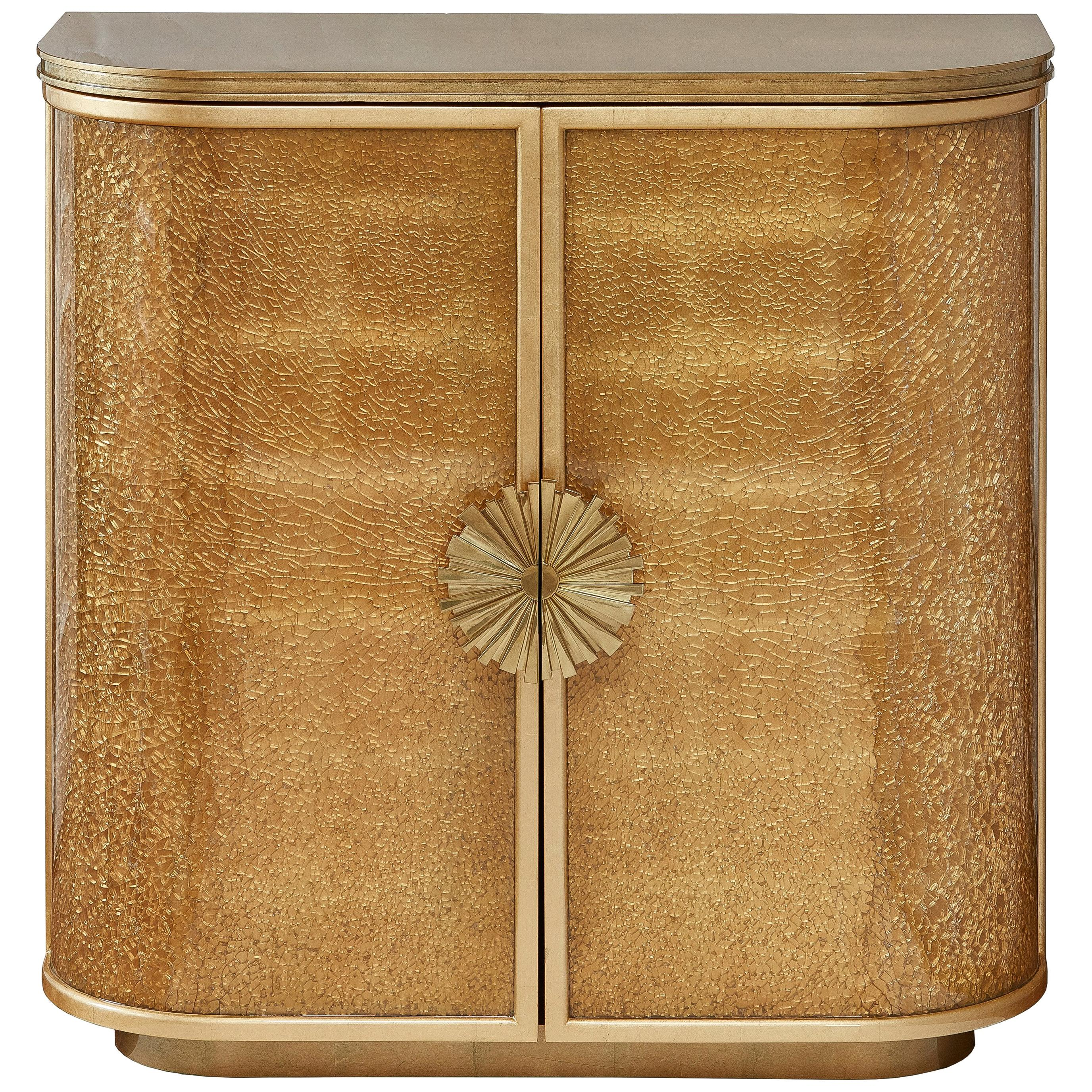Gold Leaf Cabinet with Decorative Shattered Glass Panels, Available now
