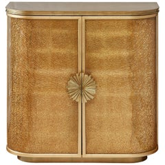 Gold Leaf Cabinet with Decorative Shattered Glass Panels, Customizable