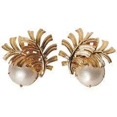 Gold Leaf Carved Pearl Earrings