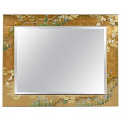 Gold Leaf Églomisé Chinoiserie Brass Frame Mirror by Labarge, Signed and Dated