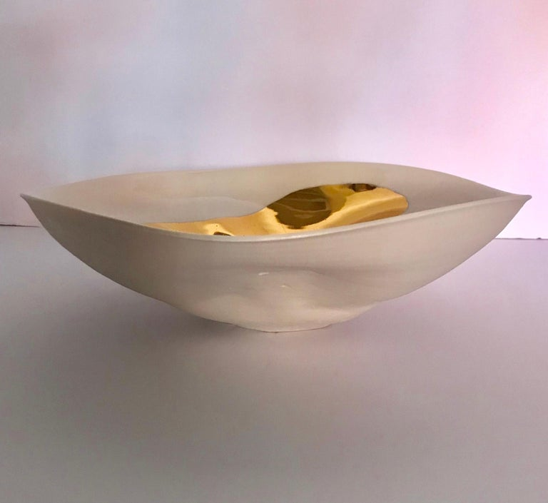 Gold Leaf Flame Design Bowl, Italy, Contemporary In New Condition For Sale In New York, NY