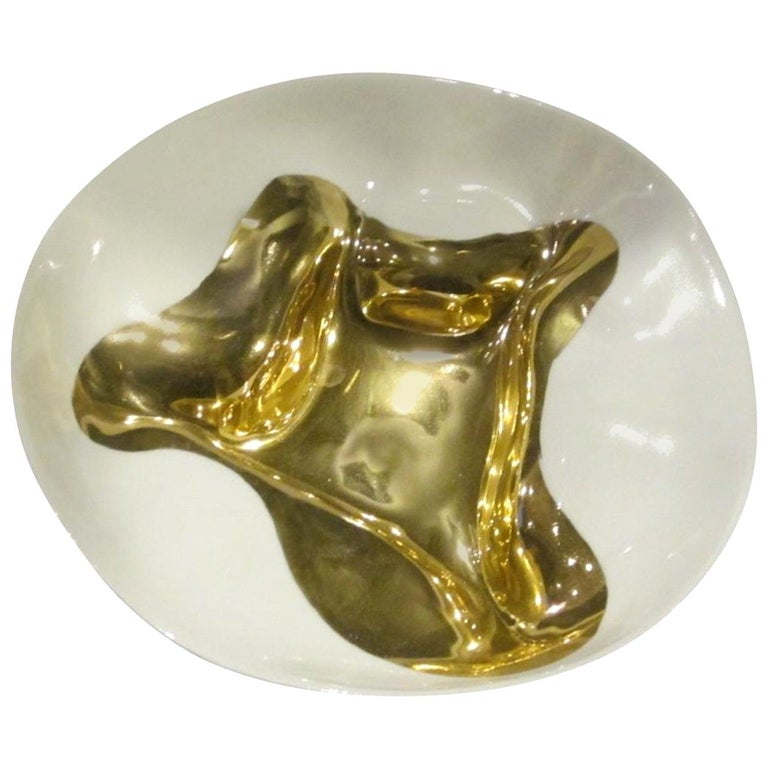 Gold Leaf Flame Design Bowl, Italy, Contemporary For Sale