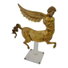 Gold-Leaf Flying Alacentaur on Lucite Stand