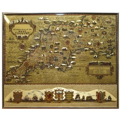 Gold Leaf Foil Pictorial Plan Map of the West Country of England Antique Style