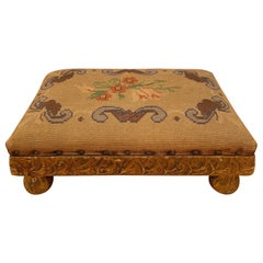 Gold Leaf Footstool with Hand Embroidery