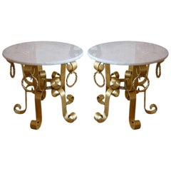 Gold Leaf Gilded Iron and Marble-Top End or Side Tables Pair of Italian Vintage