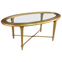 Gold Leaf Gilded Steel French Directoire Beveled Glass Oval Coffee Table
