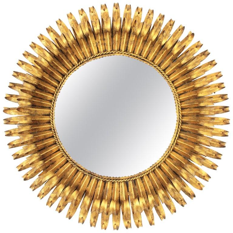 Gold Leaf Gilt Iron Hand-Hammered Eyelash Round Sunburst Mirror, France, 1950s For Sale