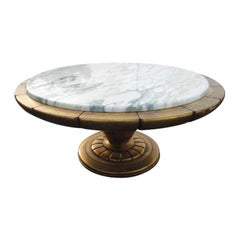 Gold Leaf Italian Marble-Top Coffee Table after James Mont
