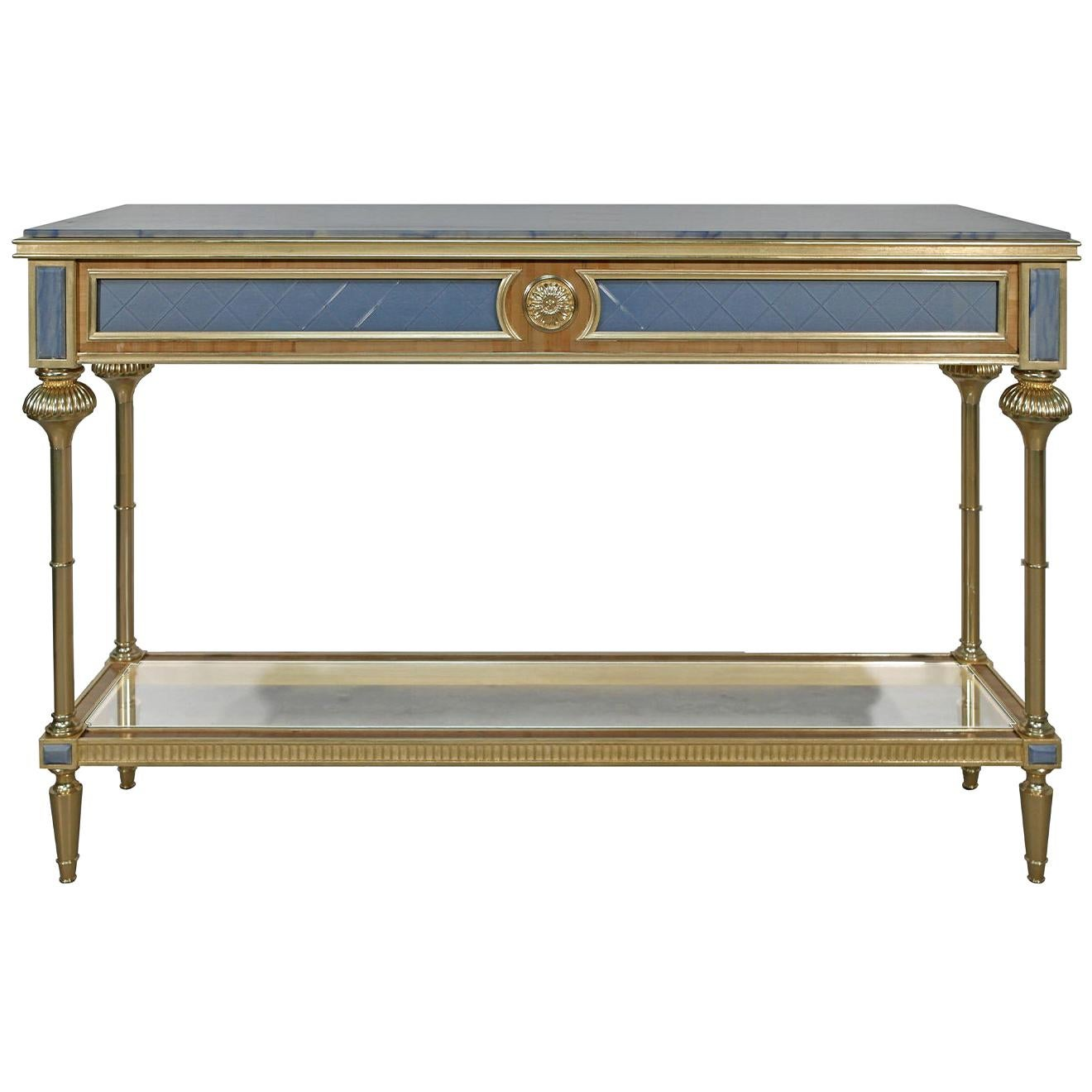 Gold Leaf Long Console Table
