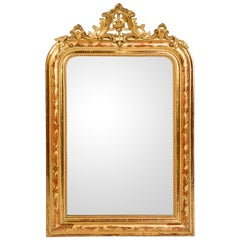 Gold Leaf Louis Philippe Mirror with Crest