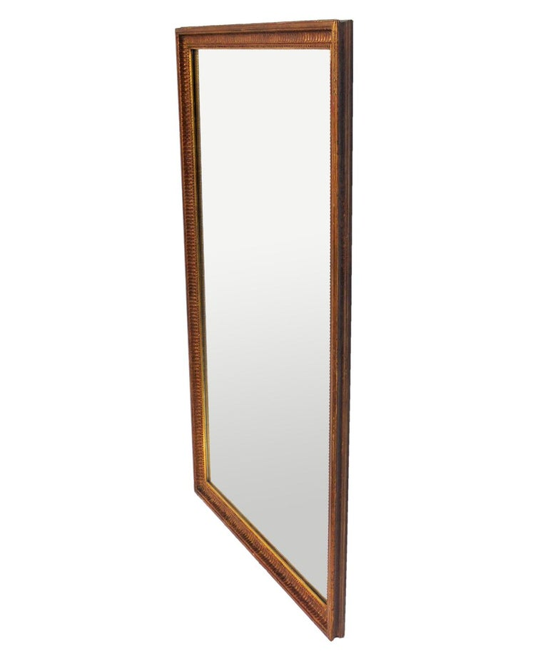 Gold Leaf Mirror, probably American, circa 1950s. Retains warm original patina to both the gilt frame and mirror that only come with age.