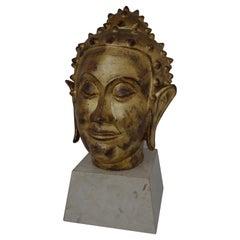 Gold Leaf on Terracotta Buddha Head