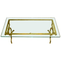 Gold Leaf over Iron Moderne Cocktail Table Parzinger and Drout Style Vintage