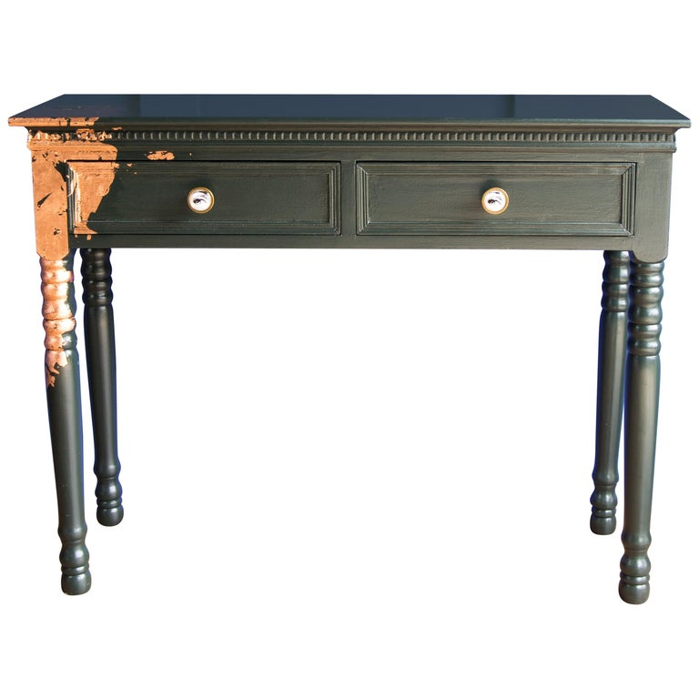 Surprising Gold Leaf Painted Console Table With Turned Country Style Gmtry Best Dining Table And Chair Ideas Images Gmtryco