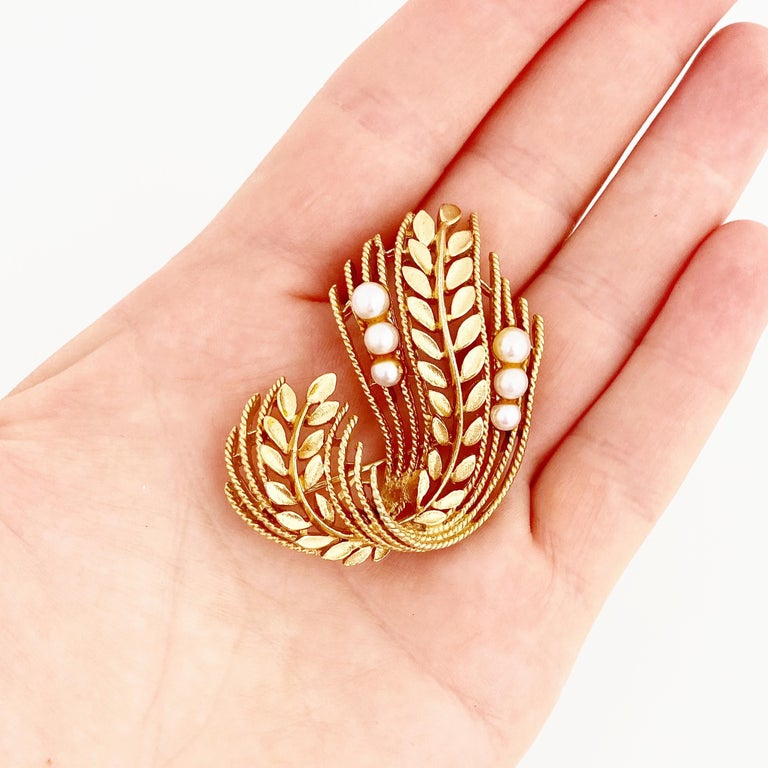 Women's Gold Leaf & Pearl Motif Brooch By Lisner, 1960s