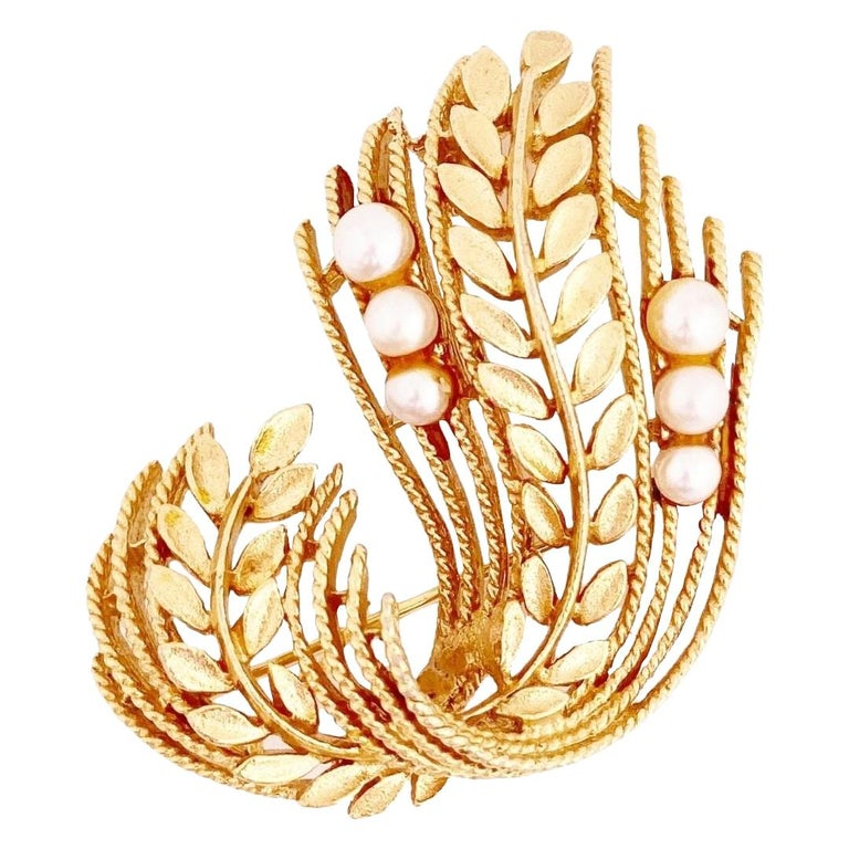 Gold Leaf & Pearl Motif Brooch By Lisner, 1960s