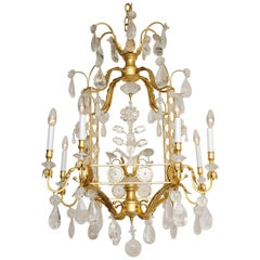 Gold Leaf Rock Crystal Pagoda Form Chandelier